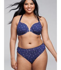lane bryant women's cotton thong panty - lace back 18/20 navy stars