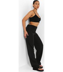 asymmetrisch geweven broek, black