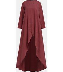 camicetta casual a maniche lunghe asimmetrica tinta unita per donna