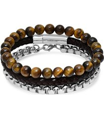 anthony jacobs men's 3-piece stainless steel, leather & tiger's eye beaded bracelet set