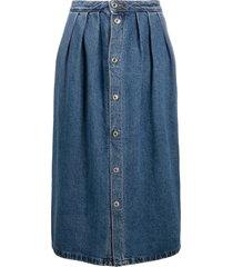 msgm button-front denim midi-skirt - blue