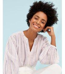 loft striped drop shoulder button down shirt