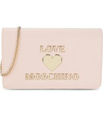 love moschino women's logo flap-top crossbody bag - rosa