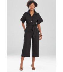 natori stretch cotton blend crop jumpsuit, women's, size l
