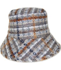 nine west textured plaid kettle hat