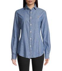 polo ralph lauren women's kendall long-sleeve button-front shirt - cobalt - size 4