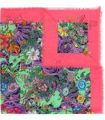 gucci floral print scarf - multicolour