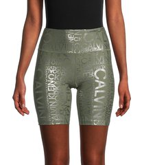 calvin klein women's logo-print bike shorts - logo green - size xl