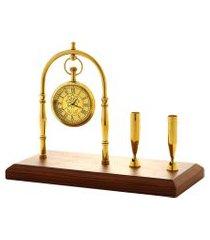 relógio de mesa royal decorativo metal/madeira 20x10x17cm dourado