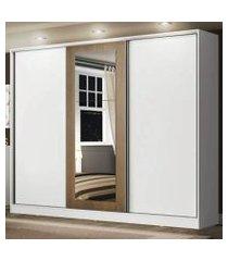 guarda roupa casal 100% mdf madesa eros 3 portas de correr com espelho branco/branco/rustic