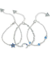 guess silver-tone 3-pc. set stone-accented night sky chain bracelets