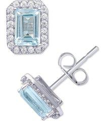 blue topaz (1-1/3 ct. t.w.) & cubic zirconia halo stud earrings in sterling silver