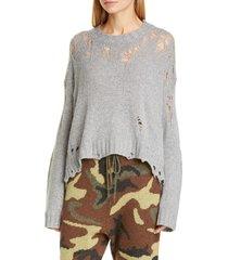 women's r13 shredded side slit wool sweater, size large - grey