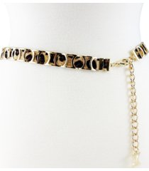 fashion focus modern metal leopard slider belt