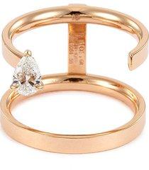 'serti sur vide' diamond 18k rose gold two row ring