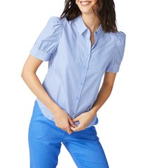 women's court & rowe stripe puff sleeve button-up shirt, size large - blue
