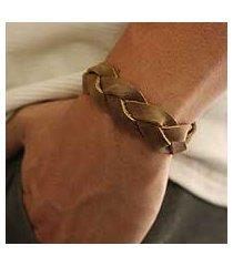 men's leather wristband bracelet, 'honey braid' (mexico)