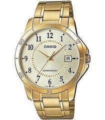 reloj análogo casio mtp-v004g-9b-dorado