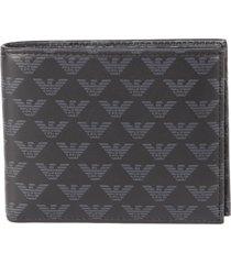 emporio armani black and grey leather wallet with monogram print