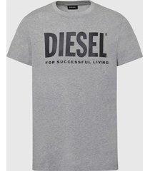polera classic t diego logo t shirt gris diesel
