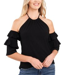 cece cold-shoulder ruffled-sleeve top