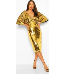 sequin plunge batwing midi dress, gold