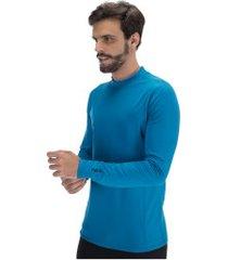 camisa segunda pele manga longa nord outdoor under basic - masculina - azul