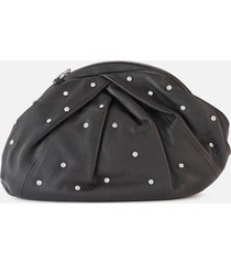 núnoo women's saki with diamonds clutch - black