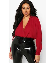 plus draped long sleeve blouse, wine