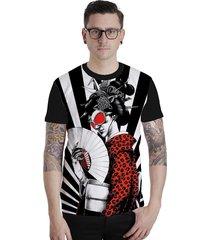 camiseta lucinoze camisetas manga curta gueixa preto