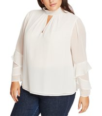 1.state trendy plus size smocked ruffle-sleeve top