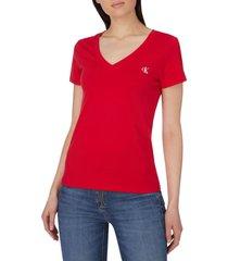 camiseta cuello v manga corta rojo calvin klein