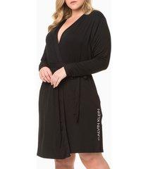 pijama feminino robe plus size preto calvin klein - 1xl