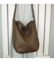 ciemnobrązowa damska torba 3w1, duża listonoszka