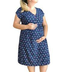 camisola plus size linda gestante amamentação pós parto corações feminina - feminino