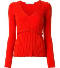 dion lee braid detail ribbed long sleeved top - red