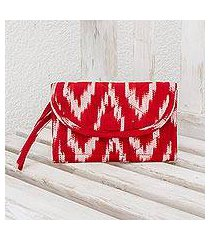 cotton wristlet bag, 'ruby maya' (guatemala)