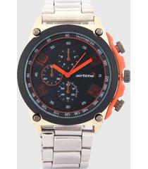 reloj plateado -azul-naranja virox