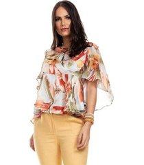blusa clara arruda manga assimetrica feminina