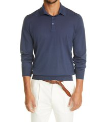 brunello cucinelli long sleeve wool & cashmere polo shirt, size 46 us in deep blue at nordstrom