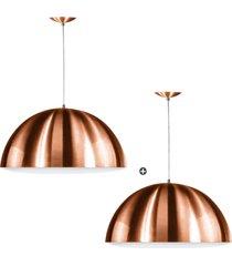 kit 2 lustre pendente meia lua 30cm de alumãnio new cobre - cobre - dafiti