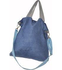 torba hobo xxl - kobalt, szarość, błękit