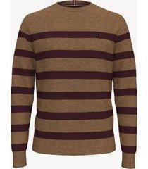 tommy hilfiger men's essential breton stripe sweater beige heather - m