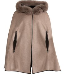 made for generation fox fur-trimmed hooded cashmere & wool cape