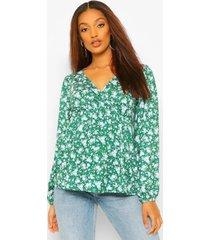 zwangerschaps bloemenprint wikkel top met gedrapeerde mouwen, emerald