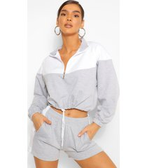colour block zip sweat & shorts set, grey