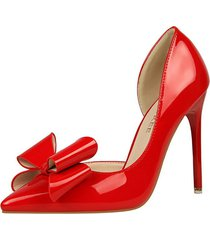 ps407 cute big bowtie pumps in candy color, us size 4-8.5, red