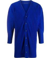 homme plissé issey miyake pleated longline cardigan - blue