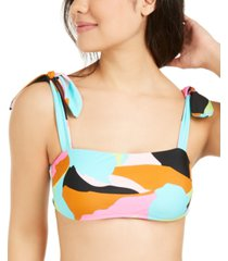 hula honey juniors' floral camo printed bralette bikini top, available in d/dd, created for macy's women's swimsuit
