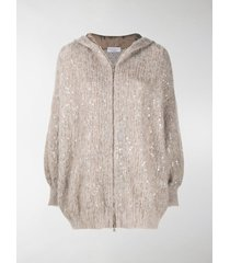 brunello cucinelli mohair sequin-embellished hoodie